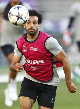 Salah training for the Champions League final