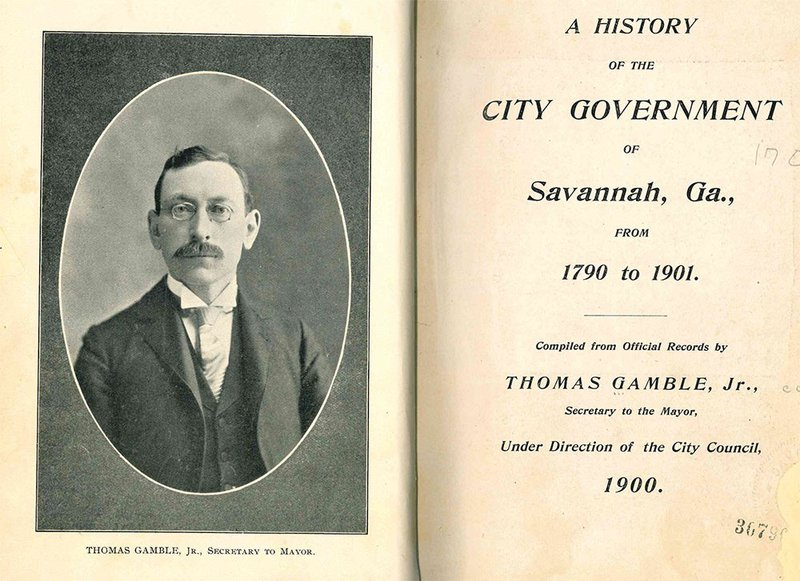 Frontispiece of Thomas Gamble's 'A History of the City Government of Savannah, Ga.'