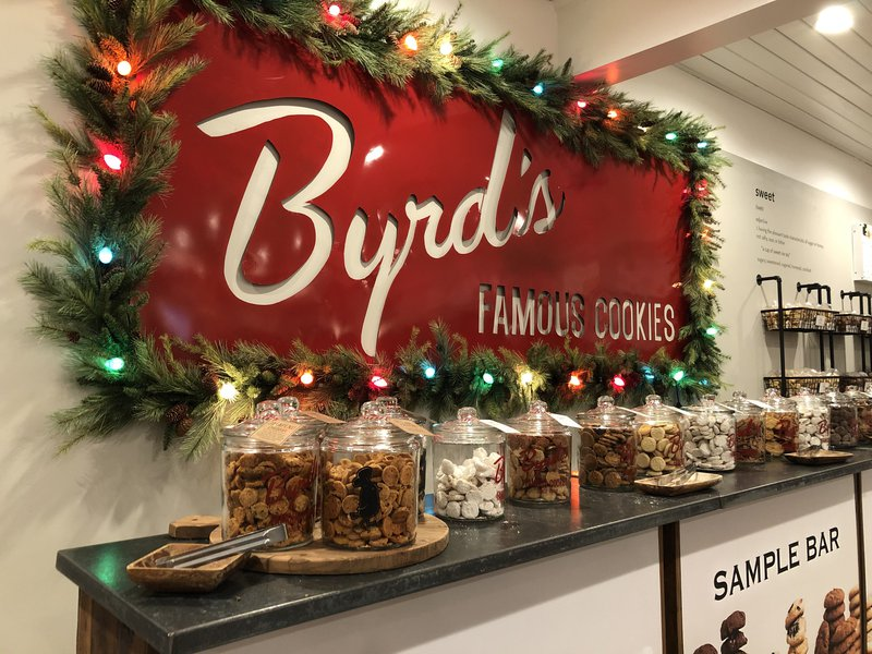 The ever-popular sample bar at Byrd's Famous Cookies.