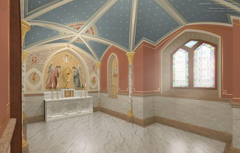 A graphic of the plans for the renovated Regina Coeli Hall at  Savannah's Cathedral Basilica of St. John the Baptist.