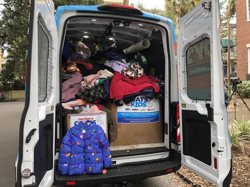 A Canady's van loaded with donated coats for kids.