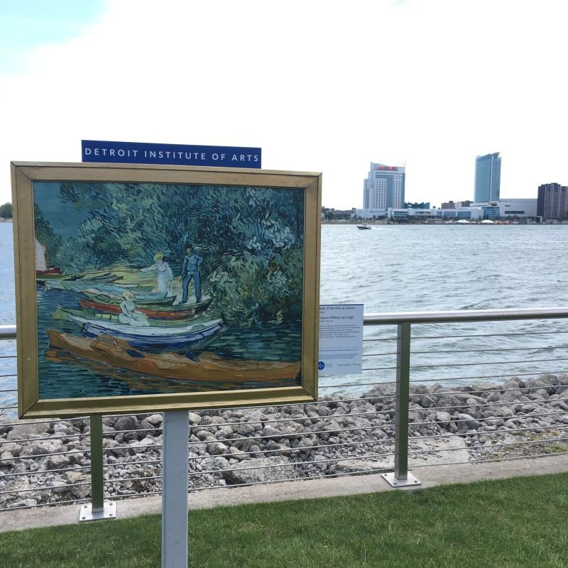 Installation overlooking the Detroit River, promoting a Van Gogh exhibit at the Detroit Institute of Arts across town.