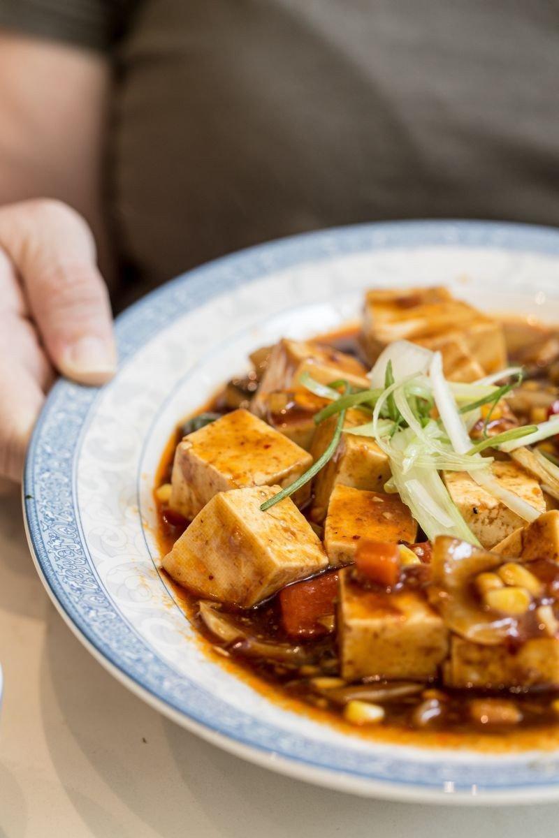 The braised tofu.