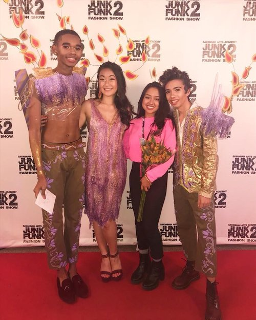 From last year's J2F: Alivia Rukmana with her models Serena Ho, Nathan Castro, and Keon Hughes.