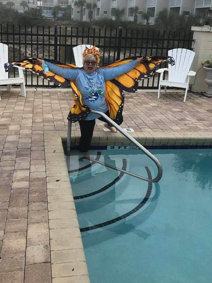 Kathy Black-Dennis with Friends of the Tybee Theater demonstrates how to participate in the Jan. 1, 2021 virtual Polar Plunge.