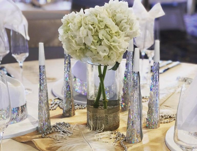 An elegant table setting aboard the Savannah Riverboat's New Year's Eve party cruise.