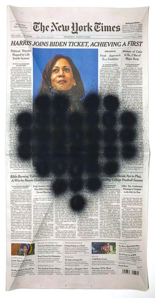 8-12-2020, acrylic on newsprint.