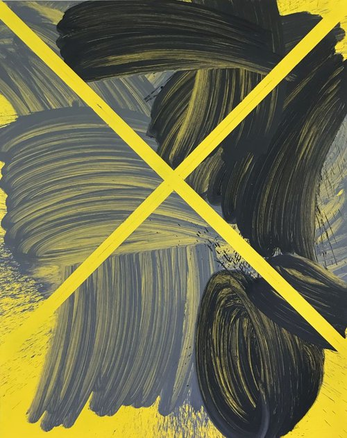 Yellow X, oil on canvas.