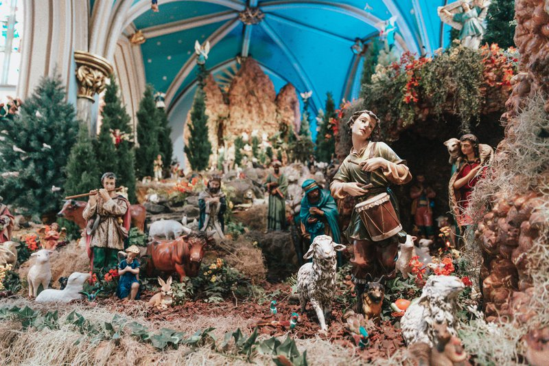 The model of Biblical scenes within Savannah's Cathedral Basilica of St. John the Baptist, as seen decorated for Christmas.