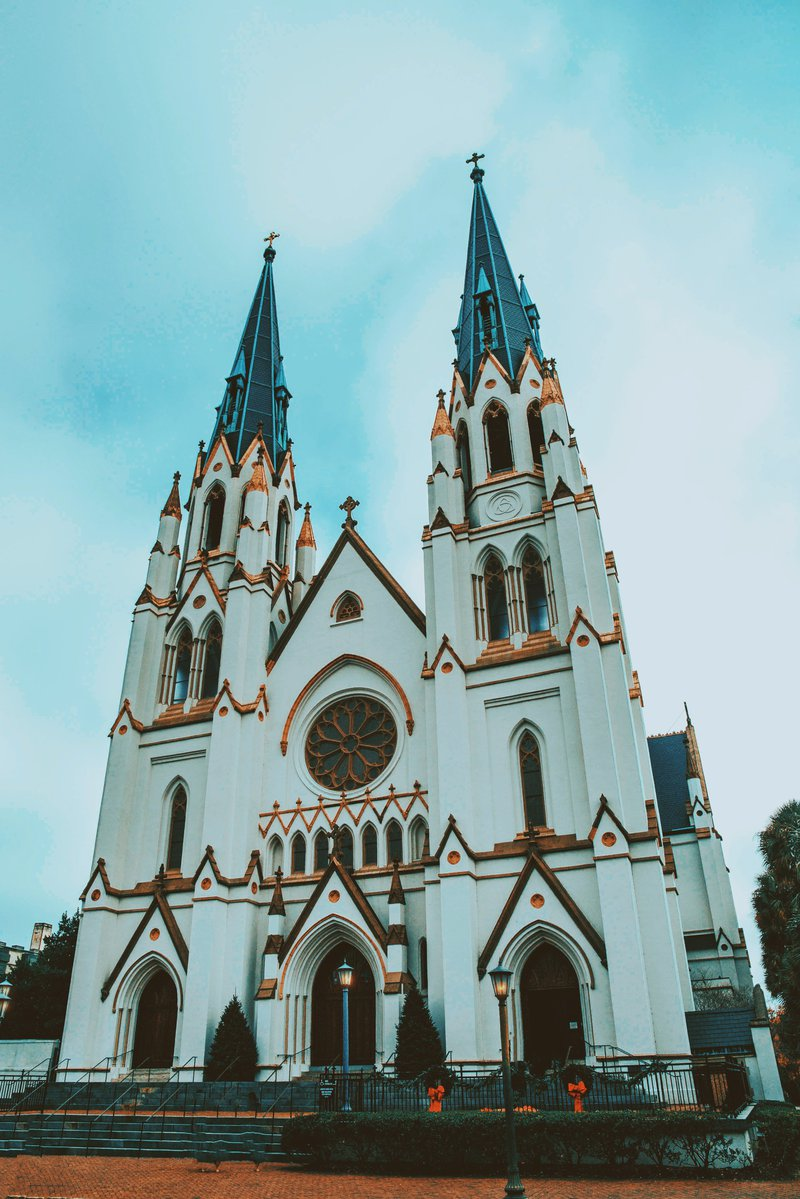 The exterior of Savannah's Cathedral Basilica of St. John the Baptist, decorated for Christmas.
