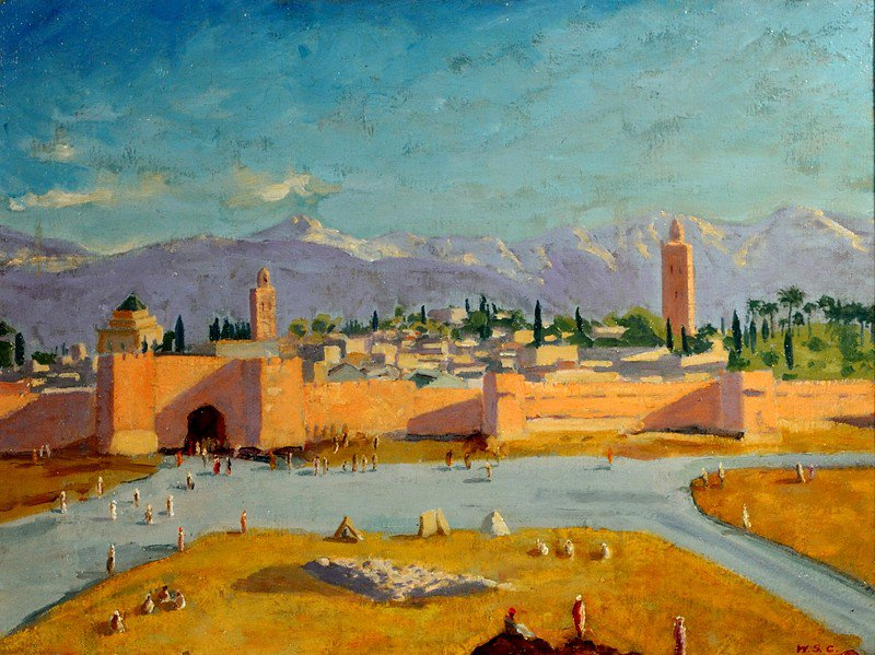 Sir Winston S. Churchill, The Tower of Katoubia Mosque, 1943, Oil on Canvas 20 x 24 in Collection of Brad Pitt and Angelina Jolie, ©Churchill Heritage Ltd, with kind permission of Churchill Heritage Ltd