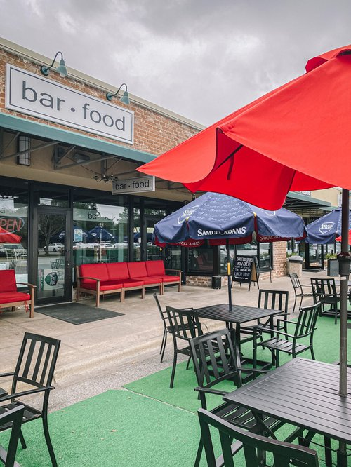 The outdoor seating area at Bar Food Sports.