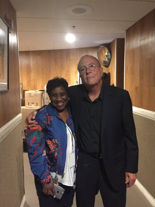 Tony Arata with Karla Redding backstage at the Ryman.