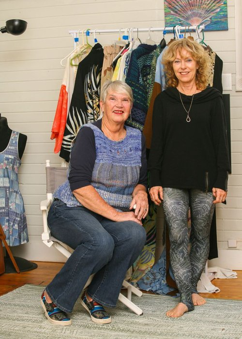 Suzy Hokanson (l.) will showcase her globally-inspired textiles along with kimonos and leggings designed by Male (r.), who is organizing the event.