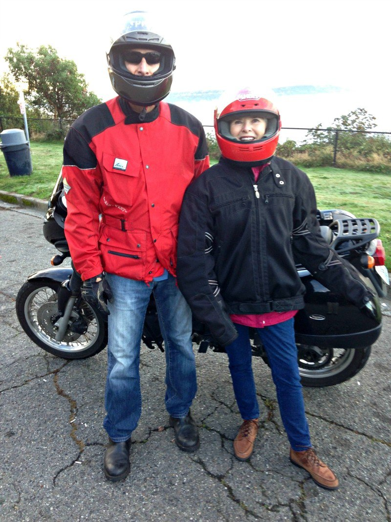 Finding joy can mean stepping out of your comfort zone and trying something new. Jan McIntire suits up for her first motorcycle ride on the winding streets of Seattle with son Dave.