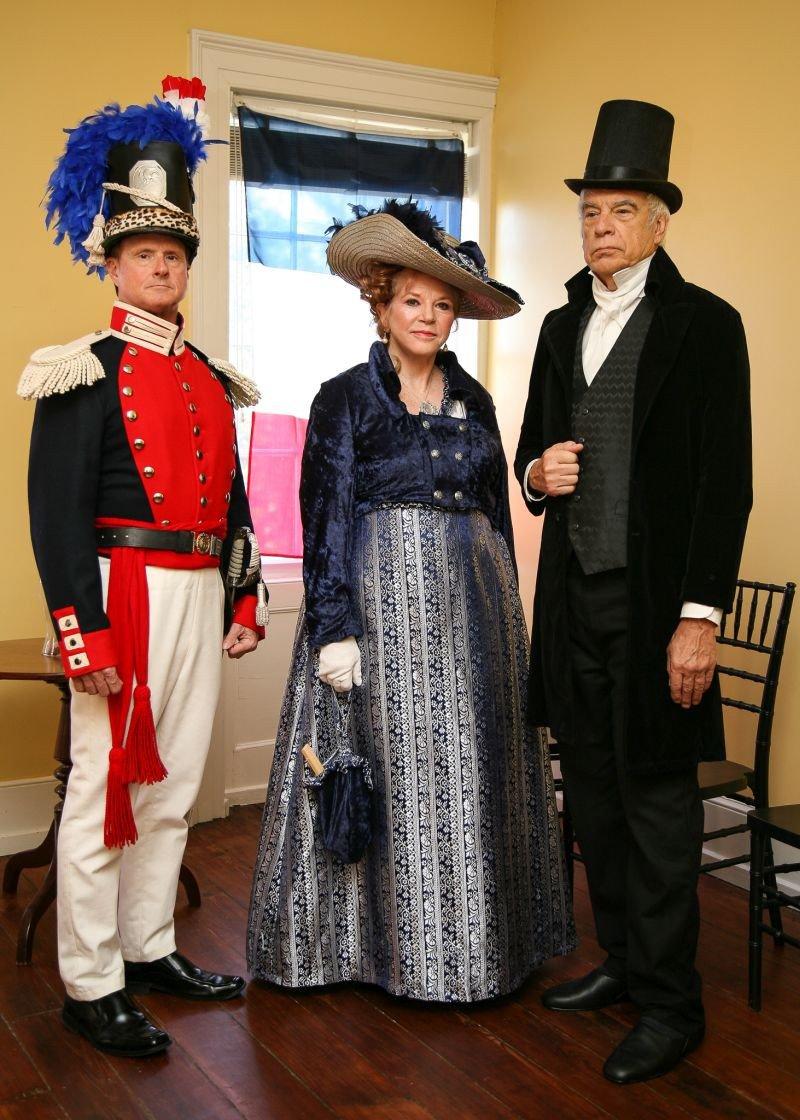 Historical reenactors Jeff Freeman, Jan Vach and Greg Vach present Lafayette in Savannah 1825.