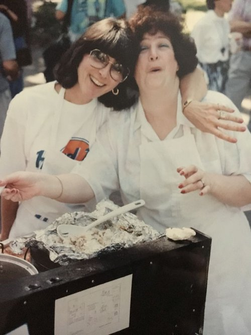 Volunteers Marcia Berens and Ava Gottlieb back in 1996, when the food festival was called