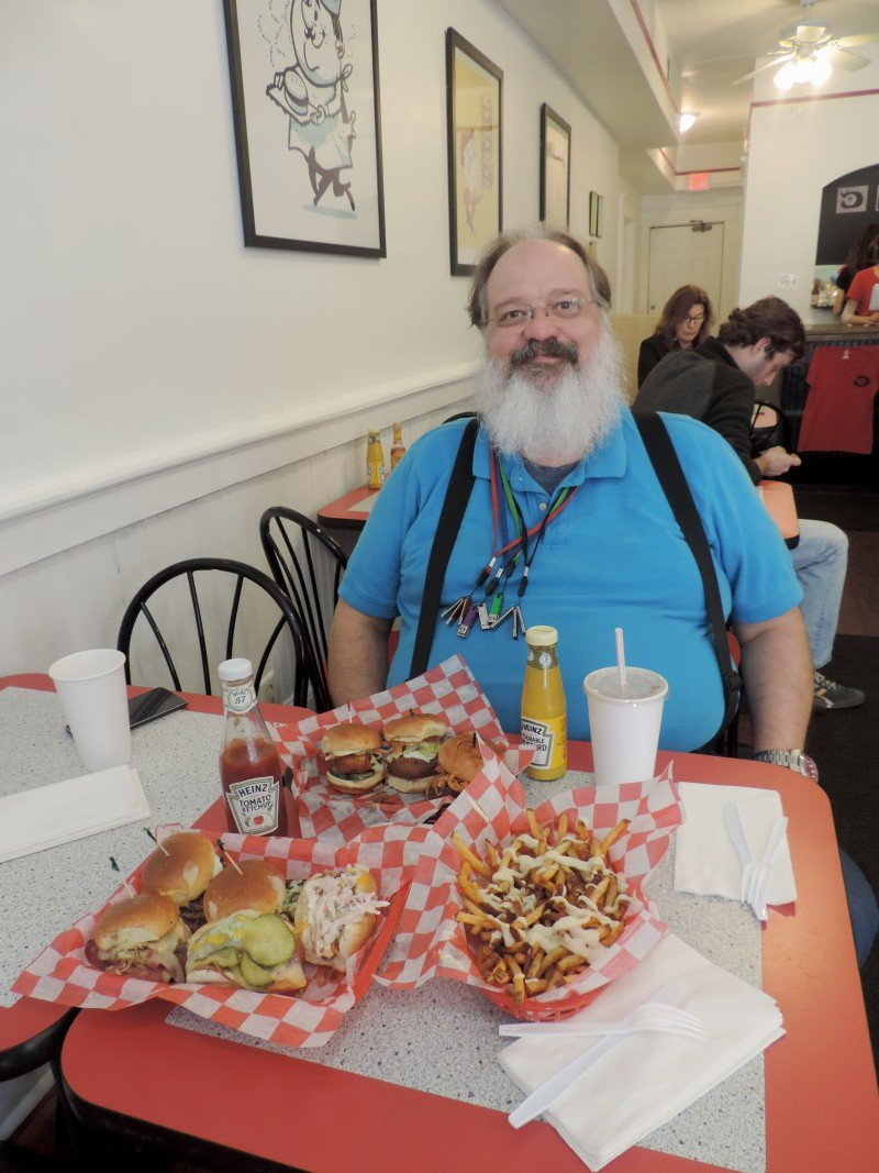 The author's foodie buddy Falko about to dig in.
