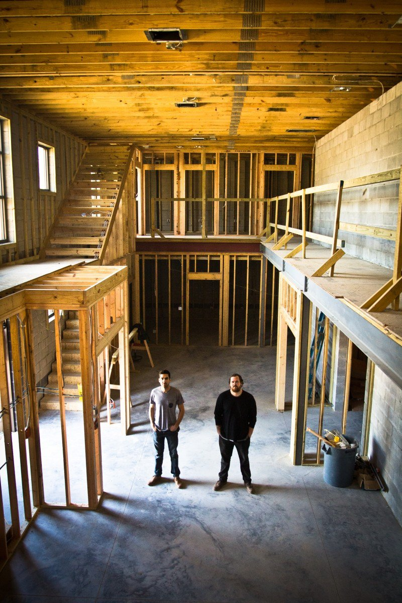 Garage, Inc.: Motlagh, left and Collett, right, in the space's common area.