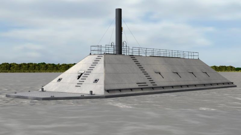 Digital rendering of what the CSS Georgia may have looked like. No confirmed historical images of the ironclad are known to exist.