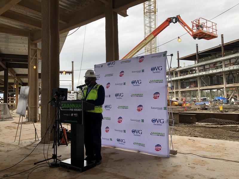 Savannah Mayor Van Johnson speaks during a Jan. 27 press conference at the Savannah Arena construction site.