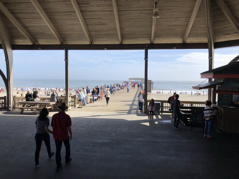 The Tybee Island pier, ordinarily packed on New Year's Day with Polar Plunge participants, still drew many people to watch the waders.