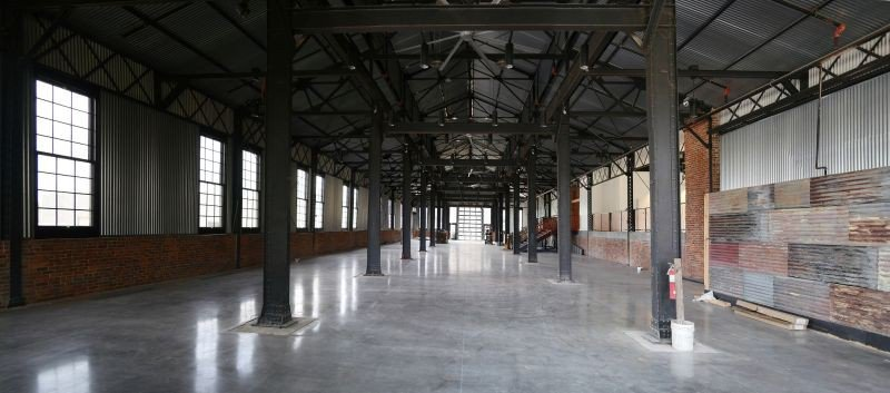 The interior event space of the machine shop after renovations.