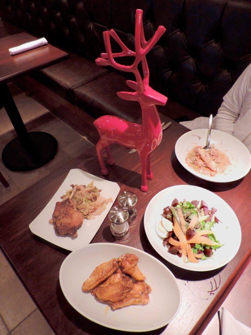 Chicken n' Waffle Soup, Mixed Greens w/Lemon Truffle Vinaigrette, China Marine Wings, and Duck Confit.