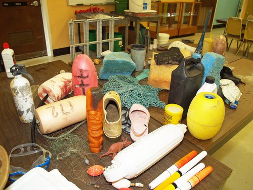 A sample of marine debris collected along the Georgia coast sits on a table at the UGA Skidaway Institute of Oceanography.