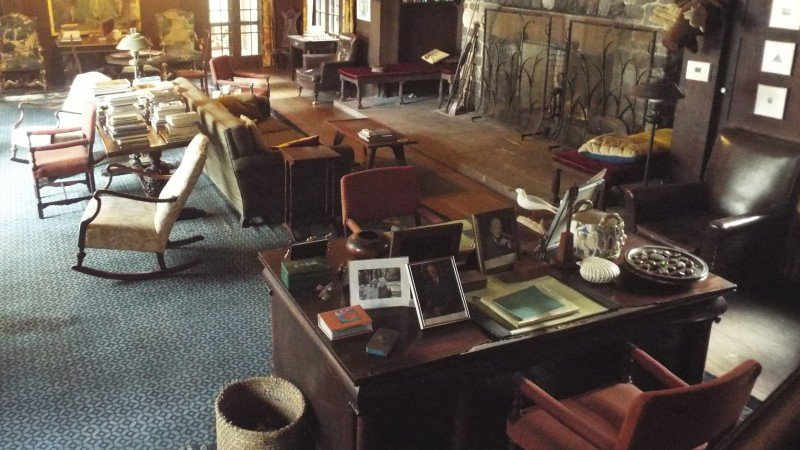 Sandy West's living room in her home on Ossabaw Island.