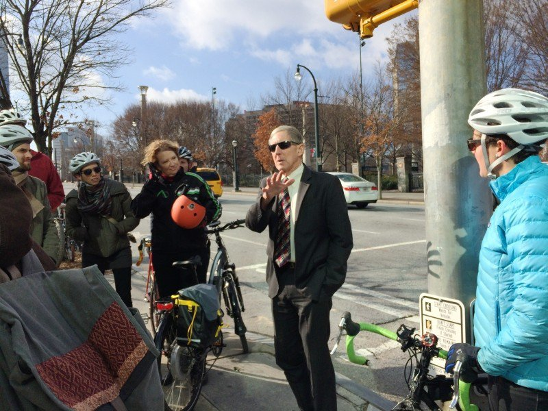 Ed McBrayer of the PATH Foundation explains bicycle infrastructure planned for Atlanta's Centennial Olympic Park.