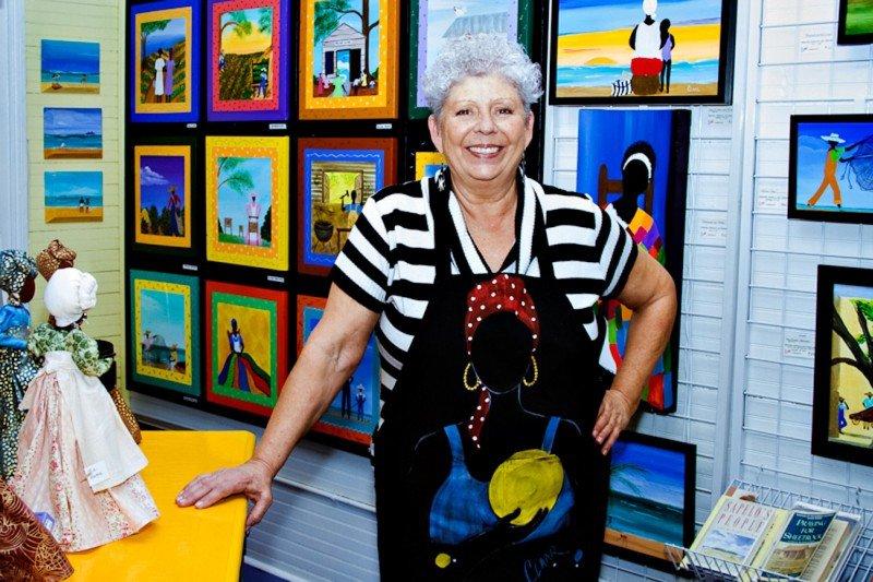 Local artist Samantha Claar in her City Market gallery space during Savannah Art Walk.