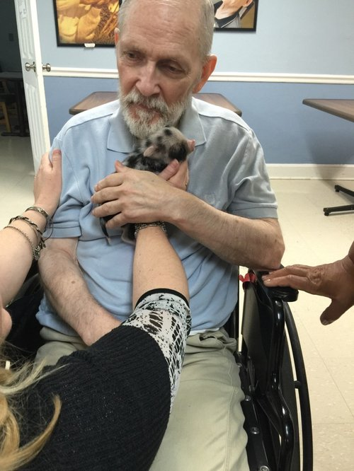 Magnolia Manor resident William Schroder enjoys cuddle therapy with Maggie.