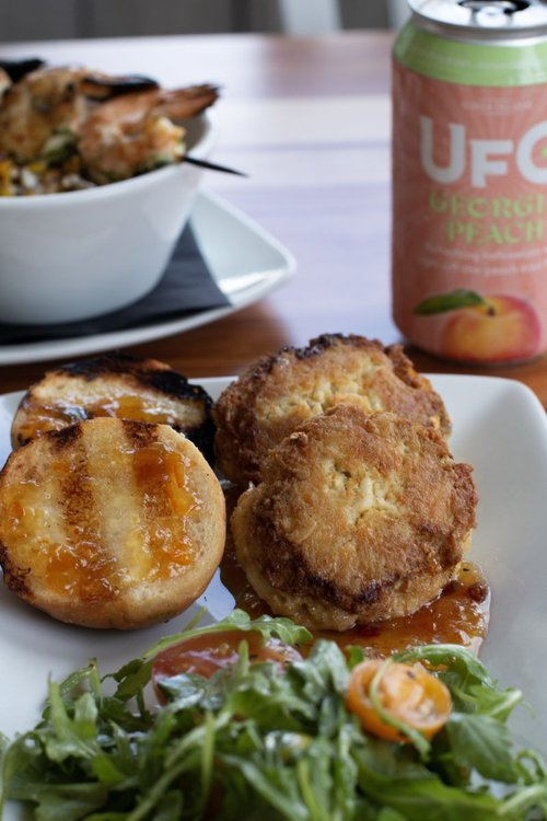 The crab cakes feature hand-picked fresh blue crab meat.