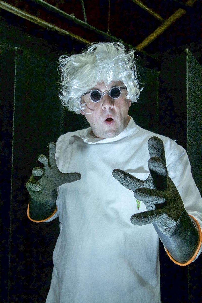 Mad scientist Justin Kent.