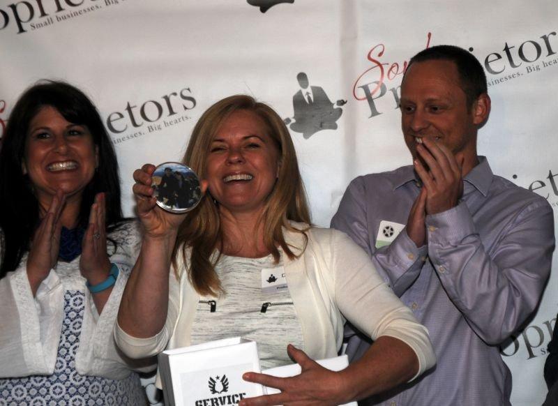 Soul Proprietor founder Debbie Brannigan (center) made the matches, aided by Marianne Ganem Poppell and last year's winning filmmaker, Will Hammargren.