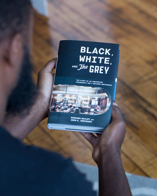 A copy of the new memoir, 'Black, White, and The Grey'.