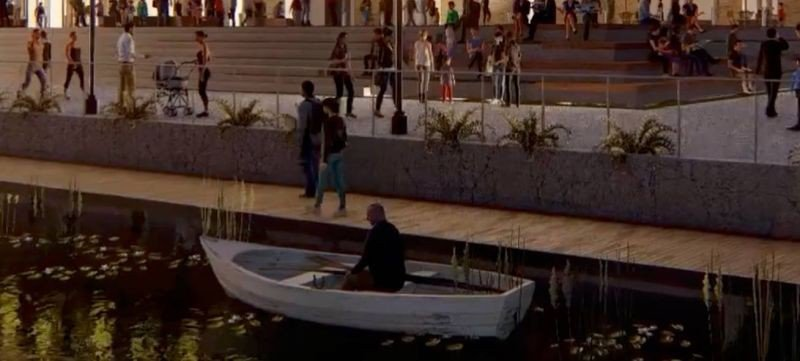 Almost certainly unintentionally, this bizarre image of a well-dressed man arriving at the Arena via an apparently about-to-sink wooden dinghy highlights the issues surrounding the use of the old industrial canal itself, and how it will relate to the new Savannah Arena.