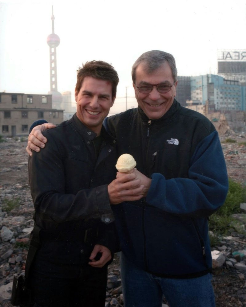 Tom Cruise with Stratton Leopold on the set of