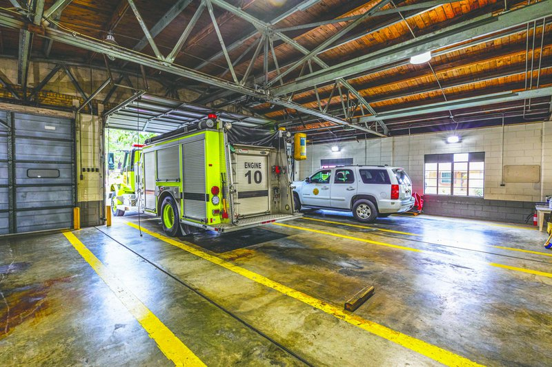 The interior of Chatham Emergency Services Fire Station 10 on Ogeechee Road, which is a repurposed 1940s airplane hangar.