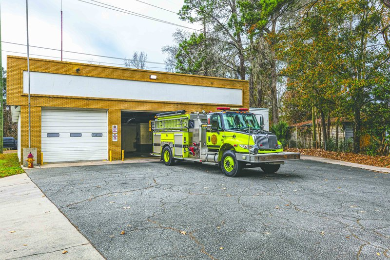 Chatham Emergency Services Fire Station 10 on Ogeechee Road, which is a repurposed 1940s airplane hangar.