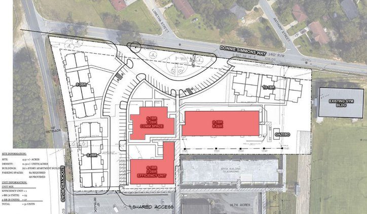 Special Illustration In this development plan for Phase I of the Bryant Landing senior community, the three buildings tinted red are existing parts of the old Julia P. Bryant Elementary School proposed to be renovated as apartment buildings. Two buildings
