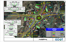 This colorful but complicated illustration shows the Georgia Department of Transportation's concept for the roundabout joining Langston Chapel Road to Harville Road and Bethel Church Road.