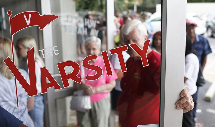The Varsity restaurant, rear, is set for demolition is shown in Athens mast week. No plans have been filed yet for what will replace the restaurant.