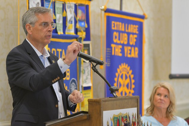 Georgia Secretary of State Brad Raffensperger speaks to the Statesboro Rotary Club at the Forest Heights Country Club on Monday, June 14.