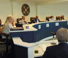 District 5 Statesboro City Council member Shari Barr, left, speaks during the brief discussion before Tuesday's 3-2 council vote to put the liquor store referendum on the Nov. 2 city ballot. Barr and District 4's John Riggs, who participated via Zoom, vot