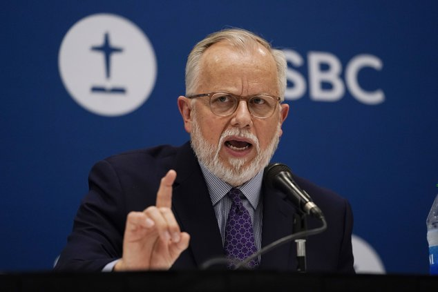Pastor Ed Litton, of Saraland, Ala., answers questions after being elected president of the Southern Baptist Convention Tuesday, June 15, 2021, in Nashville, Tenn.
