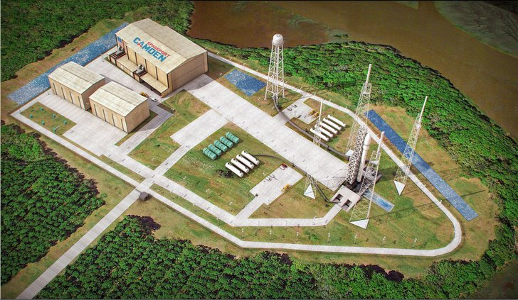This artist's sketch provided by Spaceport Camden shows the launch pad complex of the proposed Spaceport Camden in Camden County, Ga. Since 2012, Officials in Camden County have spent nine years and $10 million pursuing a license to operate the 13th licen