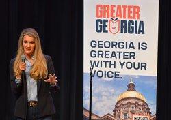 Former U.S. Senator Kelly Loeffler visits Statesboro to stump for the Greater Georgia organization at the Averitt Center for the Arts on Thursday, June 24.