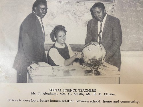 Photo courtesy of Dr. Alvin Jackson This photo shows a young Julius Abraham Jr., left, and two other social science teachers at William James High School in 1958. It's from the Willow Hill Heritage and Renaissance Center's historical collection.